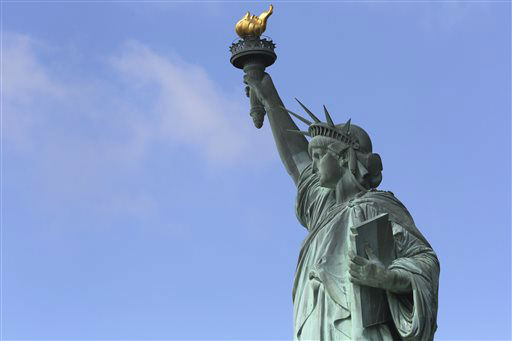 """<div class=""""meta image-caption""""><div class=""""origin-logo origin-image none""""><span>none</span></div><span class=""""caption-text"""">The Statue of Liberty arrived in New York Harbor on June 17, 1885. (AP Photo/Mary Altaffer) (AP Photo/ Mary Altaffer)</span></div>"""