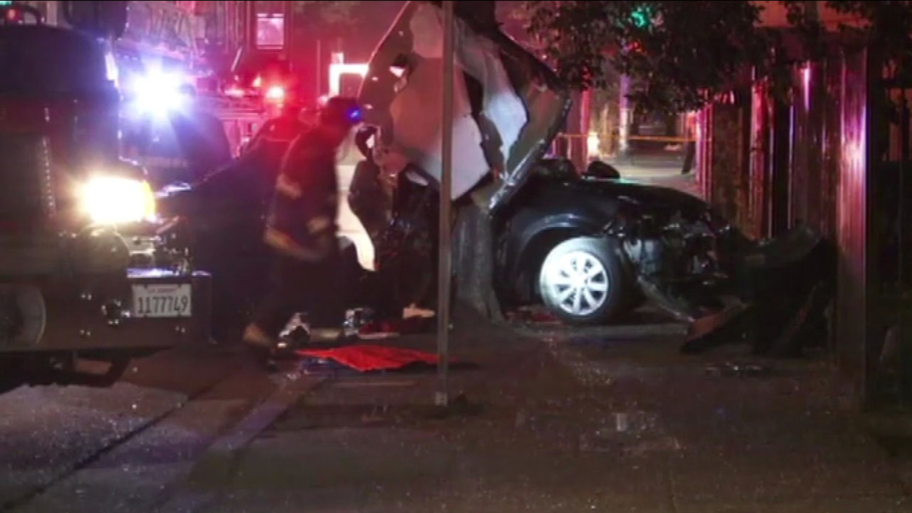 A 23-year-old man dies in car crash into tree in Oakland, Wednesday June 17, 2015.