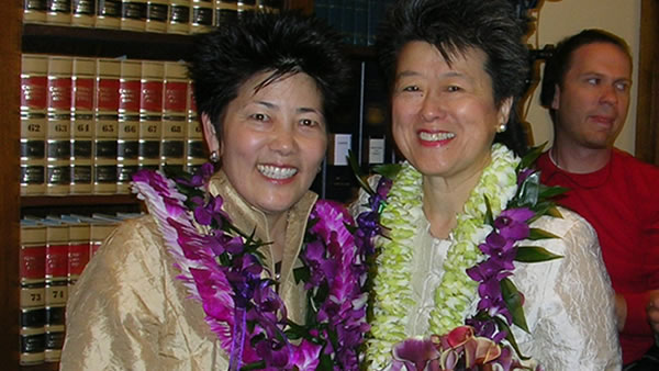 "<div class=""meta image-caption""><div class=""origin-logo origin-image ""><span></span></div><span class=""caption-text"">Famed author & activist Helen Zia and her wife Lia Shigemura made history together as one of California's first gay couples to legally wed in San Francisco on June 17, 2008. (Diane Tom/Helen Zia)</span></div>"
