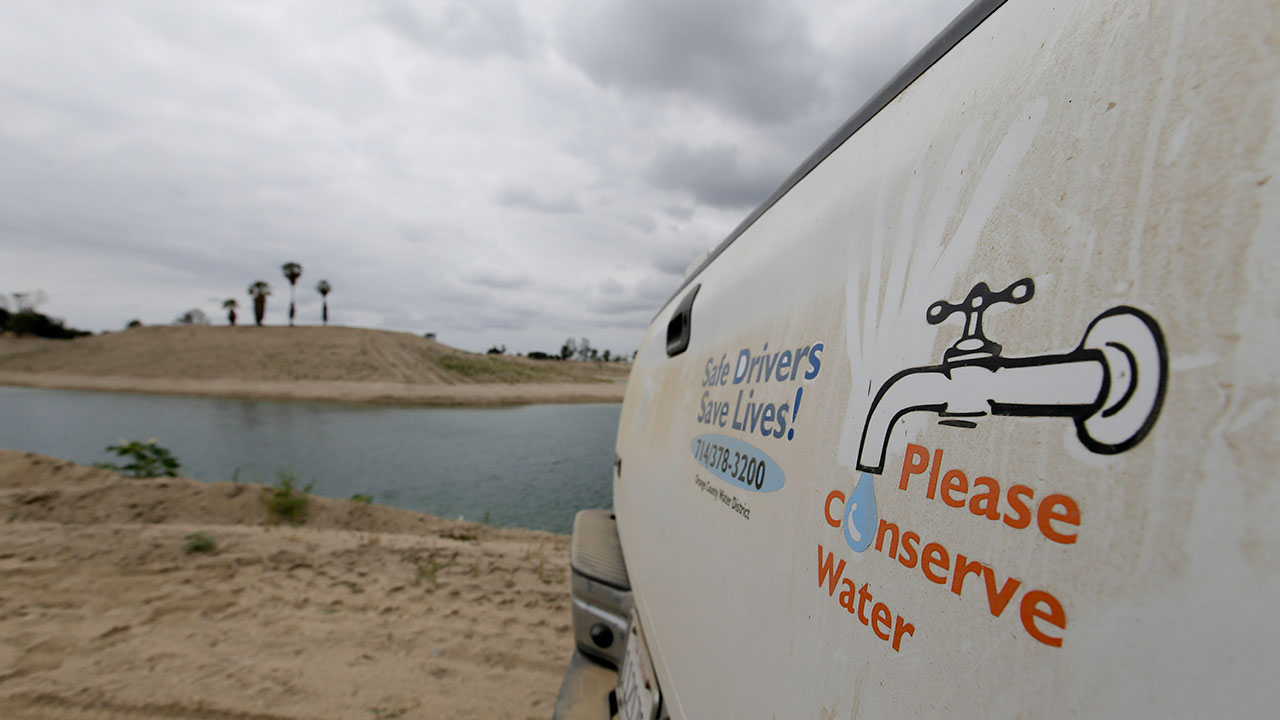 A holding pond used to recharge an underground aquifer at the Orange County Water District recharge facility in Anaheim, Calif.