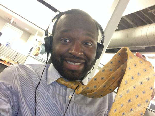 """<div class=""""meta image-caption""""><div class=""""origin-logo origin-image none""""><span>none</span></div><span class=""""caption-text"""">Tracy Clemons happy to be in a shirt and tie after covering Bill (KTRK Photo)</span></div>"""