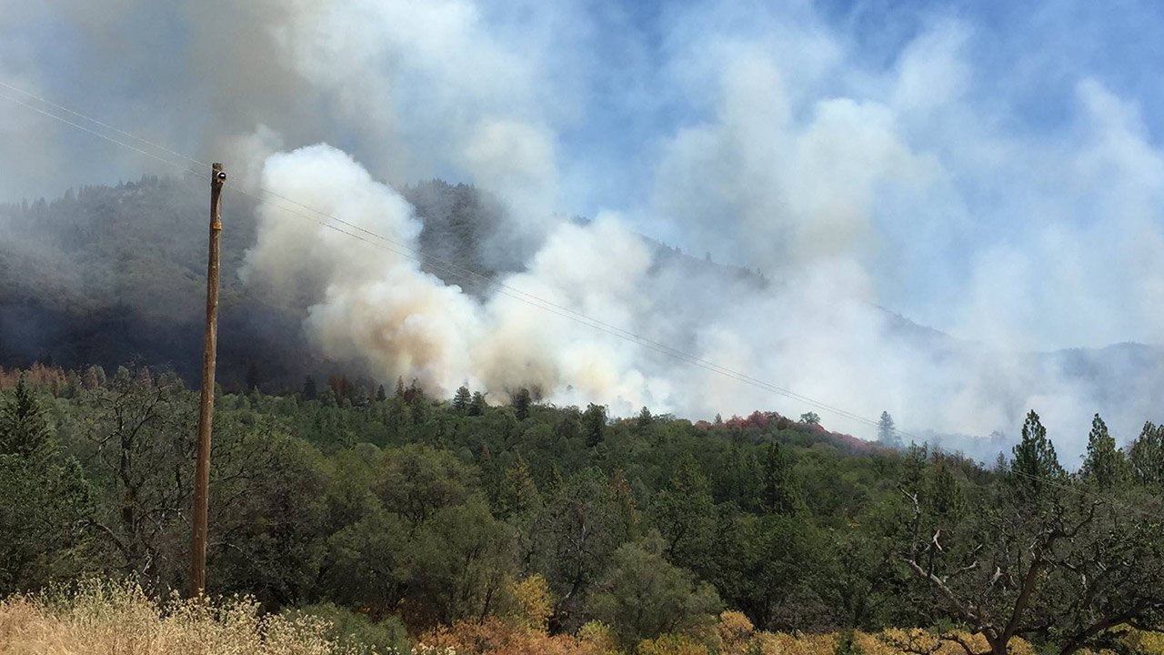 A wildfire broke out near Bootjack in Mariposa County on Thursday, June 18, 2015.
