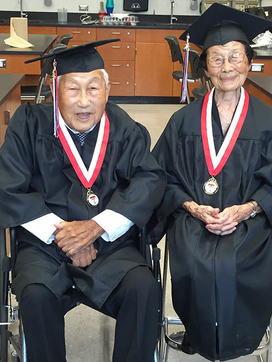"""<div class=""""meta image-caption""""><div class=""""origin-logo origin-image none""""><span>none</span></div><span class=""""caption-text"""">George Kaihara and his wife Miko finally received their diplomas and graduated from Tustin Union High School. (KABC)</span></div>"""