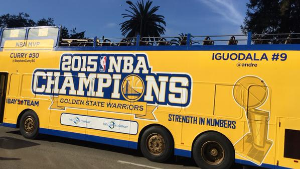 "<div class=""meta image-caption""><div class=""origin-logo origin-image none""><span>none</span></div><span class=""caption-text"">The MVP bus is ready for the Golden State Warriors parade In Oakland on June 19, 2015. (Golden State Warriors)</span></div>"