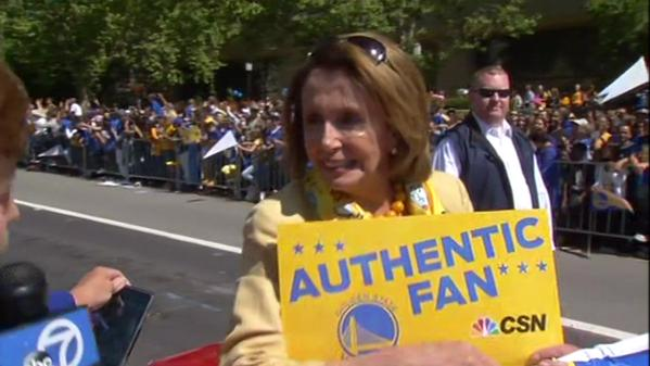 "<div class=""meta image-caption""><div class=""origin-logo origin-image none""><span>none</span></div><span class=""caption-text"">""I am happy for Oakland,"" Congresswoman Nancy Pelosi told ABC7 News reporter Laura Anthony at the Golden State Warriors parade in Oakland on Friday, June 19, 2015. (KGO-TV)</span></div>"