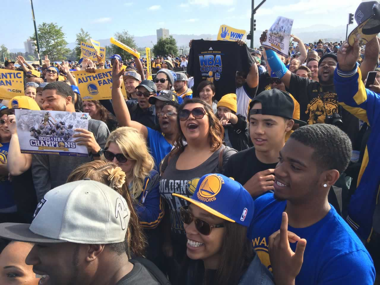 "<div class=""meta image-caption""><div class=""origin-logo origin-image none""><span>none</span></div><span class=""caption-text"">Dub Nation gathers at the Golden State Warriors parade in Oakland, Calif. on Friday, June 19, 2015. (KGO-TV)</span></div>"