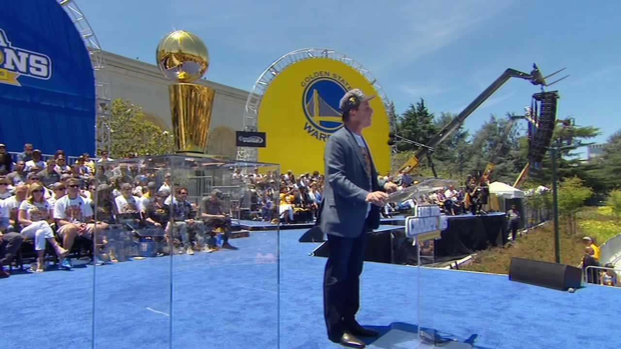 "<div class=""meta image-caption""><div class=""origin-logo origin-image none""><span>none</span></div><span class=""caption-text"">Warriors' owner speaks at the rally celebrating the NBA champions outside Oakland's Kaiser Convention Center on Friday, June 19, 2015. (KGO-TV)</span></div>"