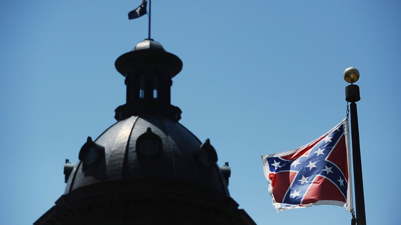 The Confederate flag flies near the South Carolina Statehouse, Friday, June 19, 2015, in Columbia, S.C.