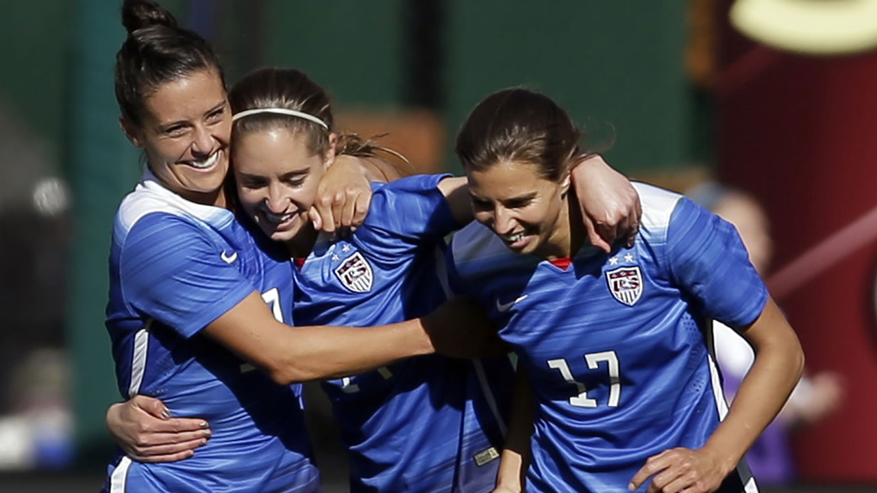 Ali Krieger, Morgan Brian, and Tobin Heath