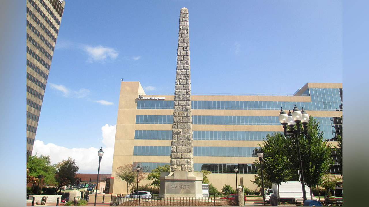 The Vance obelisk was erected in 1897 and was recently restored