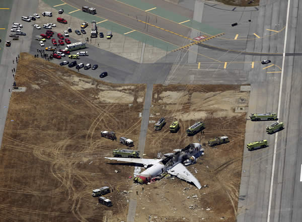 <div class='meta'><div class='origin-logo' data-origin='none'></div><span class='caption-text' data-credit=''>This aerial photo shows the wreckage of the Asiana Flight 214 airplane after it crashed at the San Francisco International Airport in San Francisco, Saturday, July 6, 2013. (AP Photo/Marcio Jose Sanchez)</span></div>