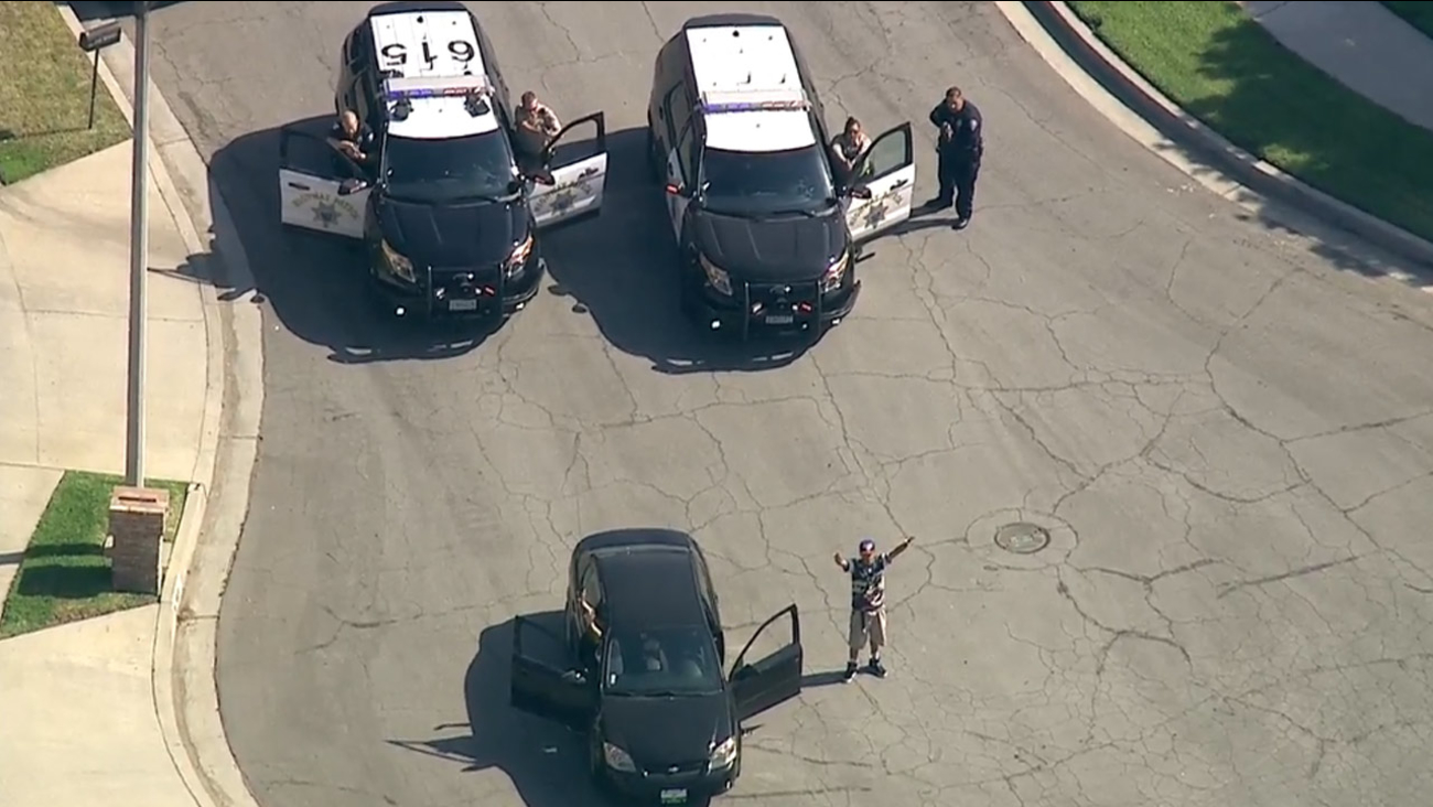 A police chase of suspects in a possibly stolen vehicle ends in Arcadia on Tuesday, June 23, 2015.