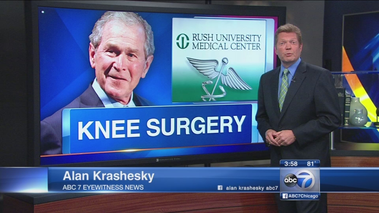 George W Bush has knee surgery in Chicago
