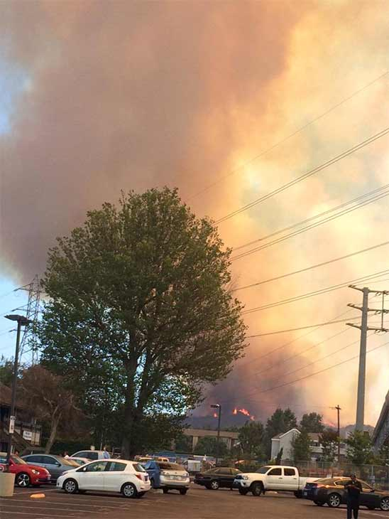 """<div class=""""meta image-caption""""><div class=""""origin-logo origin-image kabc""""><span>KABC</span></div><span class=""""caption-text"""">ABC7 viewer Heather Dingley (@DingleyintheDel) sent us this photo of the Calgrove Fire burning in Santa Clarita Wednesday, June 24, 2015. (https://twitter.com/DingleyintheDel)</span></div>"""