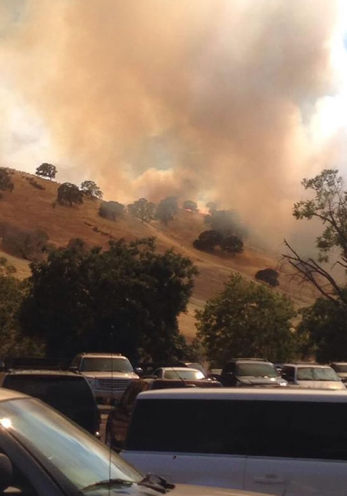 """<div class=""""meta image-caption""""><div class=""""origin-logo origin-image kgo""""><span>KGO</span></div><span class=""""caption-text"""">Crews battled a brush fire near the Contra Loma Regional Park in Antioch, Calif., on Wednesday, June 24, 2015. (Photo submitted to KGO-TV by ElleneBeezy/Twitter)</span></div>"""