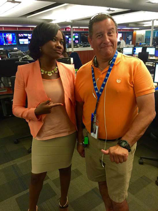 """<div class=""""meta image-caption""""><div class=""""origin-logo origin-image none""""><span>none</span></div><span class=""""caption-text"""">Who wore it best? Samica Knight and photographer Gerzain wore similar colors to work (KTRK Photo)</span></div>"""