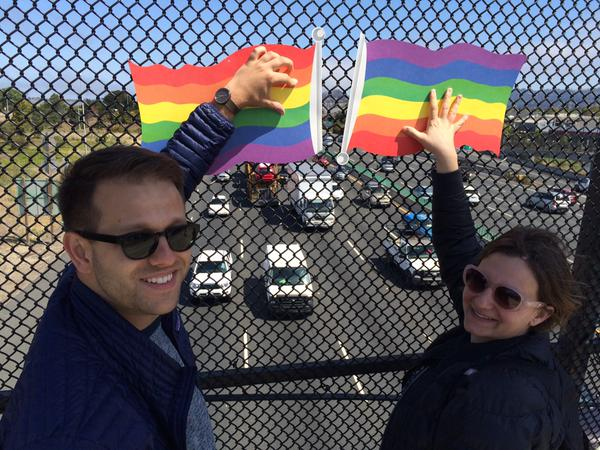 "<div class=""meta image-caption""><div class=""origin-logo origin-image none""><span>none</span></div><span class=""caption-text"">Pedestrians hold pride signs on a Berkeley overpass following SCOTUS ruling on same sex marriage on Friday, June 26, 2015. (KGO-TV)</span></div>"