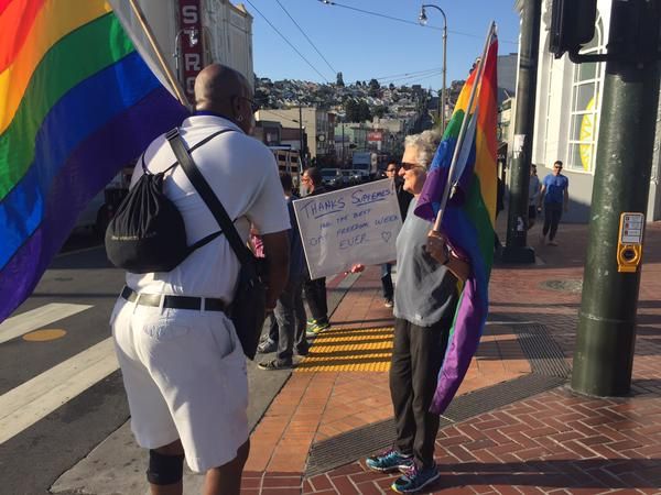 "<div class=""meta image-caption""><div class=""origin-logo origin-image none""><span>none</span></div><span class=""caption-text"">People are celebrating the Supreme Court's same sex marriage ruling in San Francisco on Friday, June 26, 2015. (KGO-TV)</span></div>"