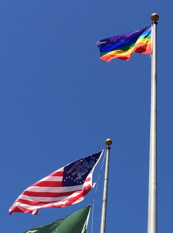 "<div class=""meta image-caption""><div class=""origin-logo origin-image none""><span>none</span></div><span class=""caption-text"">The Pride flag is flying high at San Jose City Hall plaza celebrating SCOTUS same sex marriage decision on Friday, June 26, 2015. (KGO-TV)</span></div>"