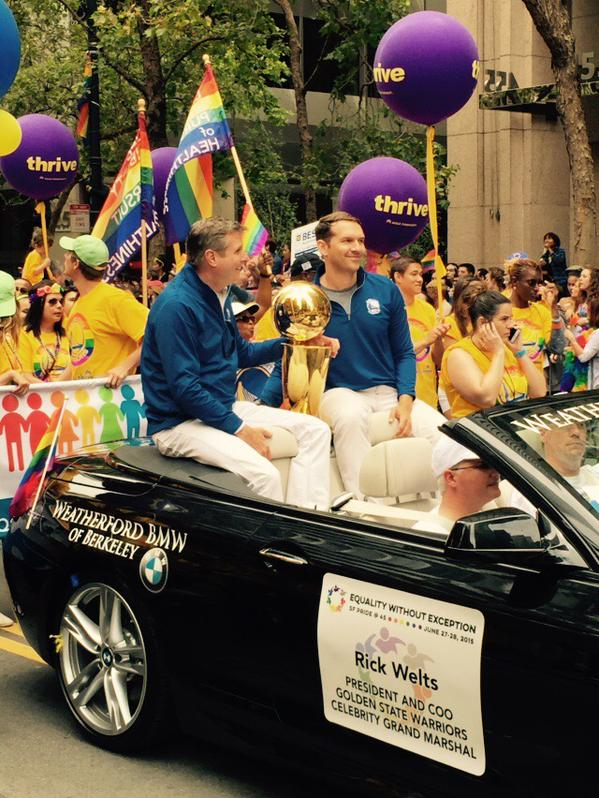 "<div class=""meta image-caption""><div class=""origin-logo origin-image none""><span>none</span></div><span class=""caption-text"">Golden State Warriors President Rick Welts rides in the Pride Parade in San Francisco on Sunday, June 28, 2015.Tag your pics on Facebook, Twitter and Instagram using #abc7now. (KGO-TV)</span></div>"