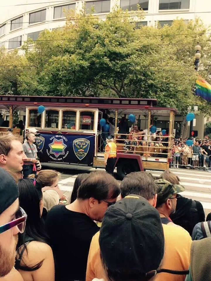 "<div class=""meta image-caption""><div class=""origin-logo origin-image none""><span>none</span></div><span class=""caption-text"">A trolley representing San Francisco police drives by during the 45th annual San Francisco Gay Pride parade Sunday, June 28, 2015, in San Francisco. (Photo submitted to KGO-TV by @LoiwaitingLove/Twitter)</span></div>"