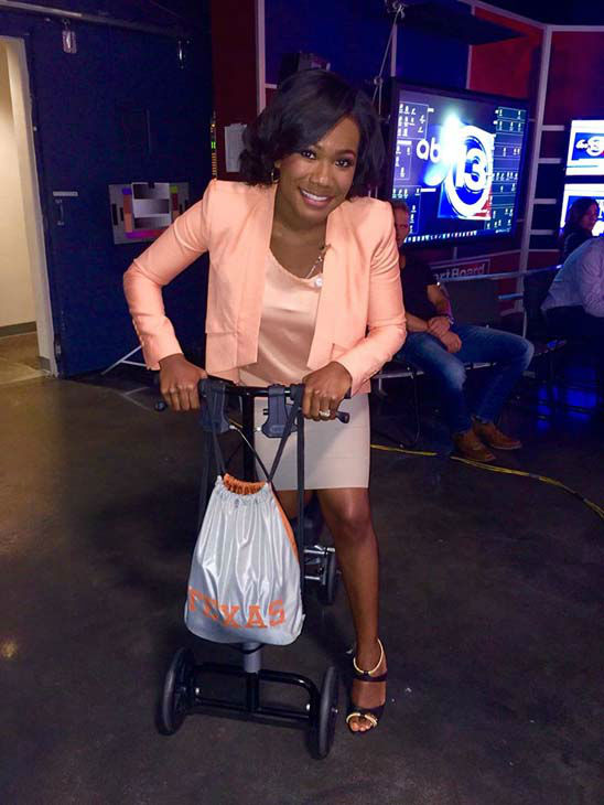 """<div class=""""meta image-caption""""><div class=""""origin-logo origin-image none""""><span>none</span></div><span class=""""caption-text"""">Samica Knight riding around on our director's scooter. He broke his leg and has been using this to get around the newsroom. (KTRK Photo)</span></div>"""