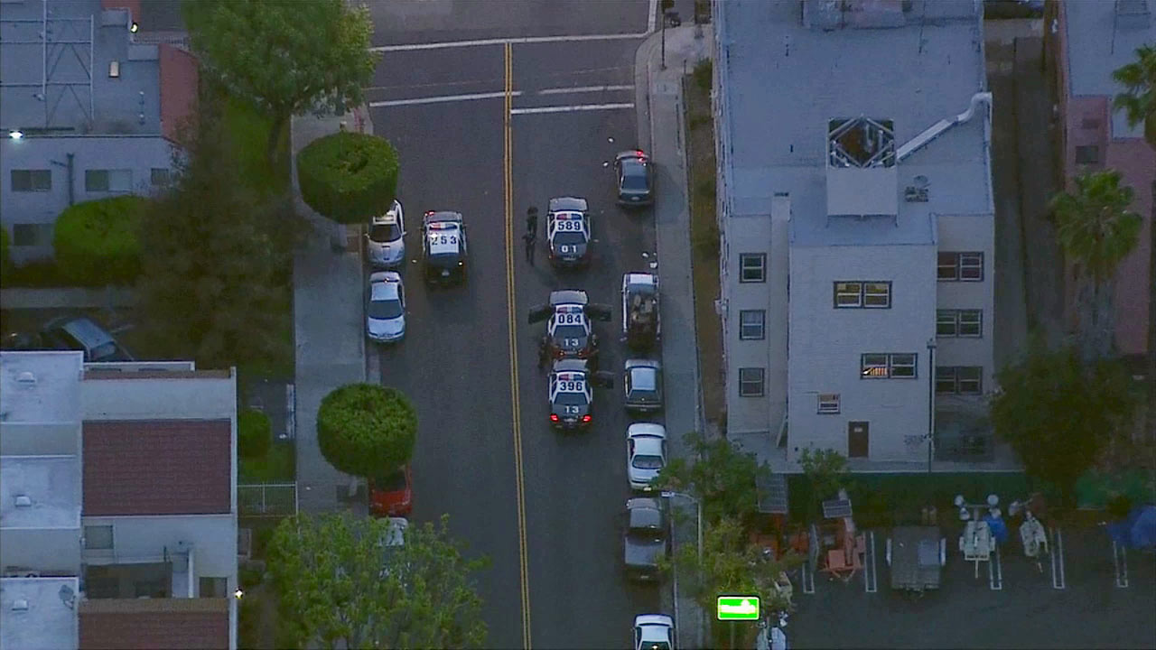 Law enforcement vehicles are shown in the Pico-Union area on Monday, June 29 ,2015.