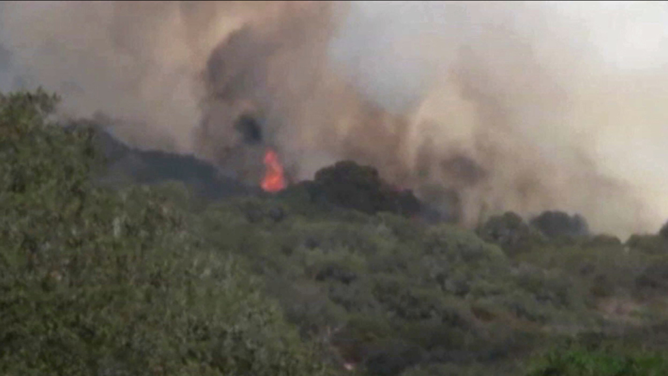 A fast-moving fire wildfire broke out in Lompoc just north of Santa Barbara on Monday, June 29, 2015.