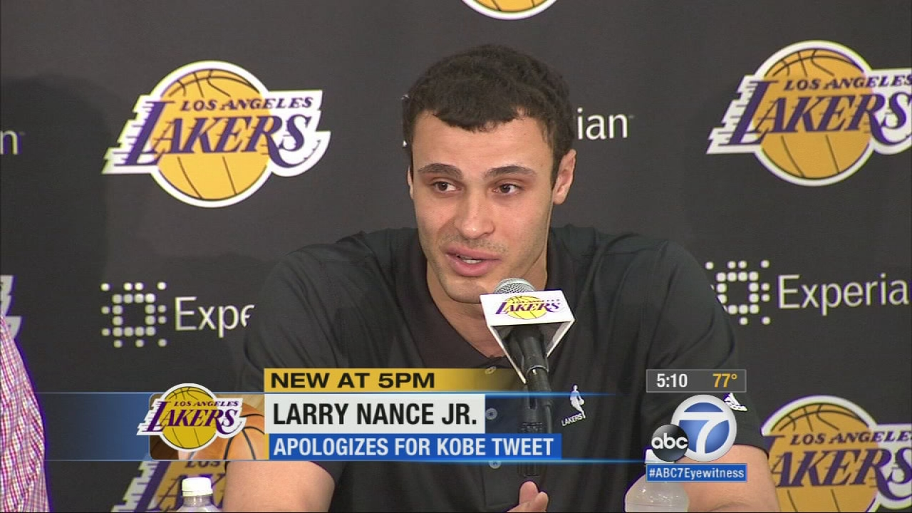 Lakers draft pick Larry Nance Jr. talks about the moments after his critical tweet of Kobe Bryant surfaced at a news conference on Monday, June 29, 2015.