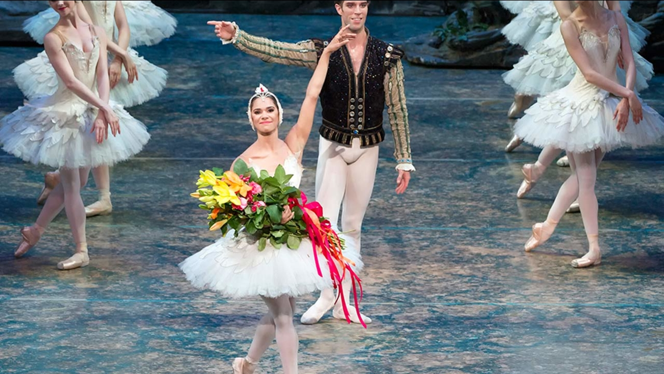 This photo provided by American Ballet Theater, Misty Copeland and James Whiteside appear in 'Swan Lake' at the Metropolitan Opera House on June 24, 2015.