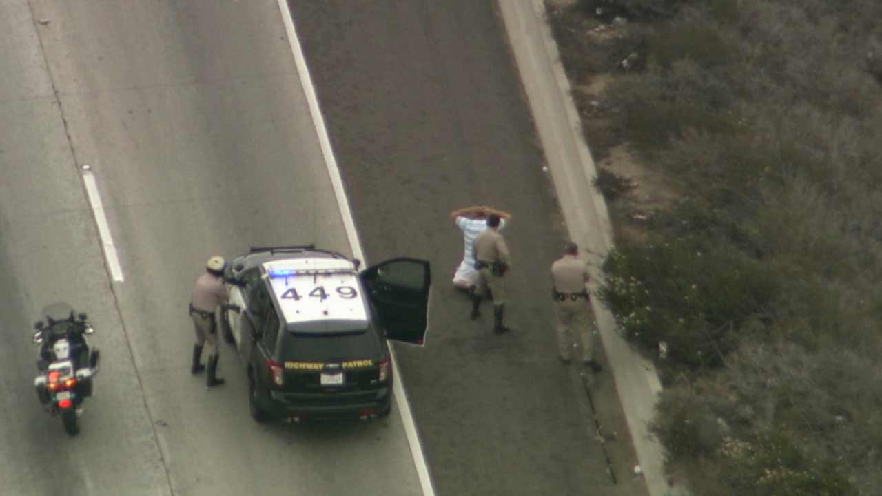 A suspect was taken into custody on the southbound 5 Freeway in the Del Mar area of San Diego County Tuesday, June 30, 2015 after leading CHP officers on a high-speed chase.