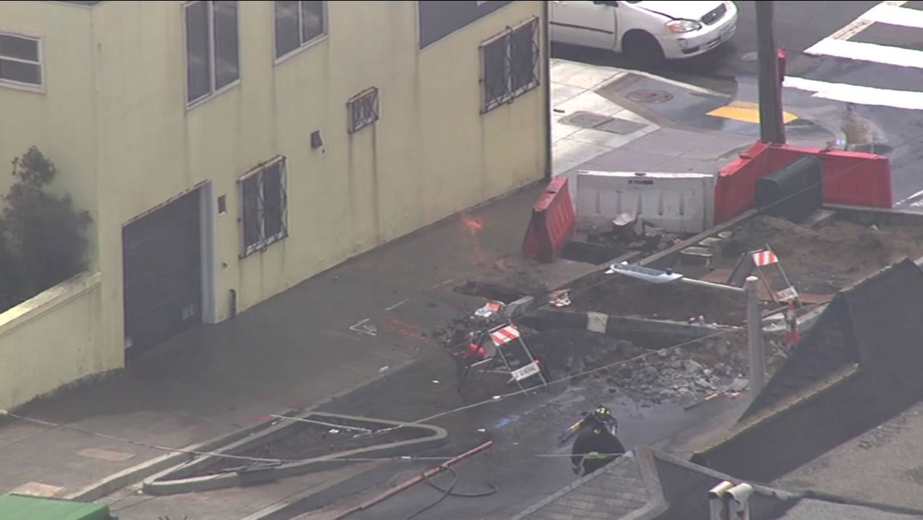 Crews in San Francisco are working to put a fire out and cap a gas leak after a line broke on June 30, 2015.