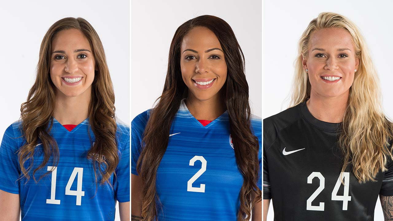 Midfielder Morgan Brian, forward Sydney Leroux and goalkeeper Ashlyn Harris of the U.S. Women's National Team.