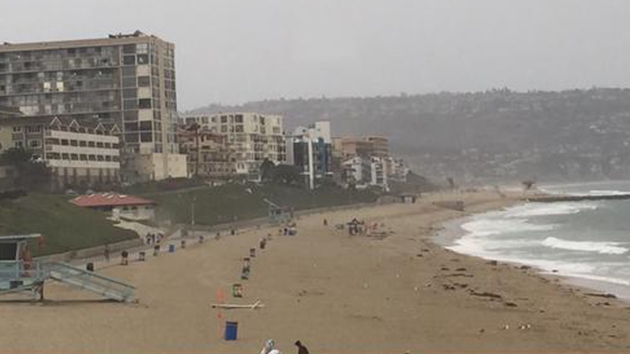 Redondo Beach is cleared after lightning strikes on Tuesday, June 30, 2015.