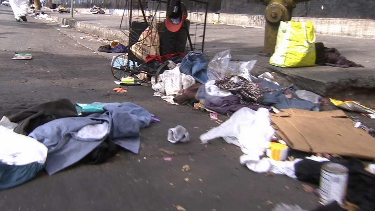 Items from a homeless encampment are seen in this undated file photo taken in downtown Los Angeles.