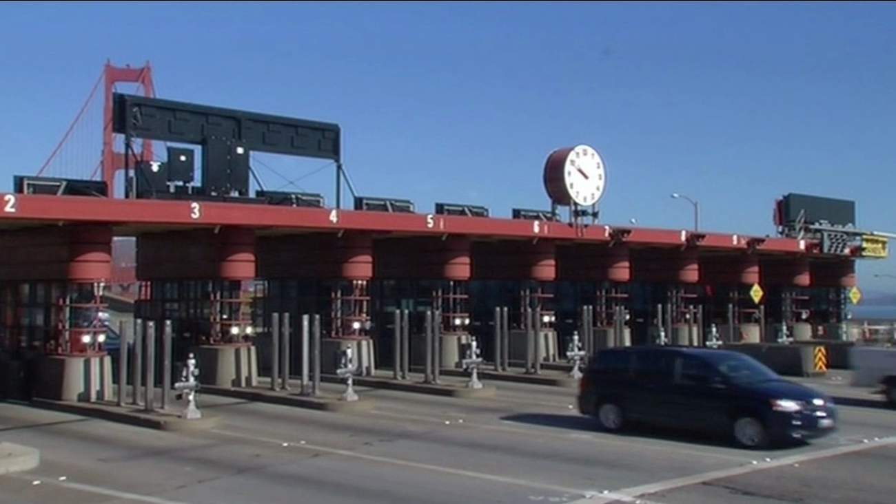 Golden Gate Bridge toll plaza.