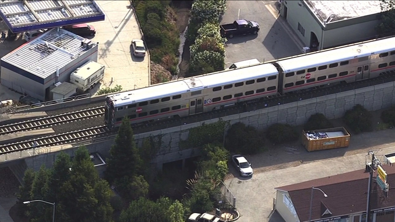Caltrain stopped after fatal accident in Belmont, Wednesday, June 1, 2015.