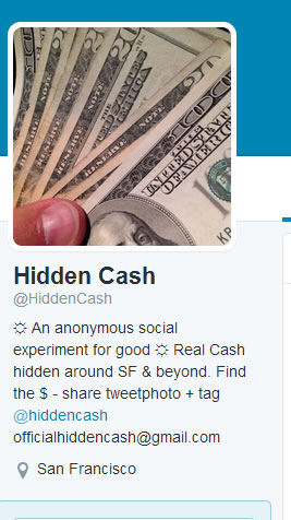 """<div class=""""meta image-caption""""><div class=""""origin-logo origin-image """"><span></span></div><span class=""""caption-text"""">Chasing the cash! A mystery millionaire's scavenger hunt for cash in the Bay Area stirs up a frenzy. (@HiddenCash)</span></div>"""