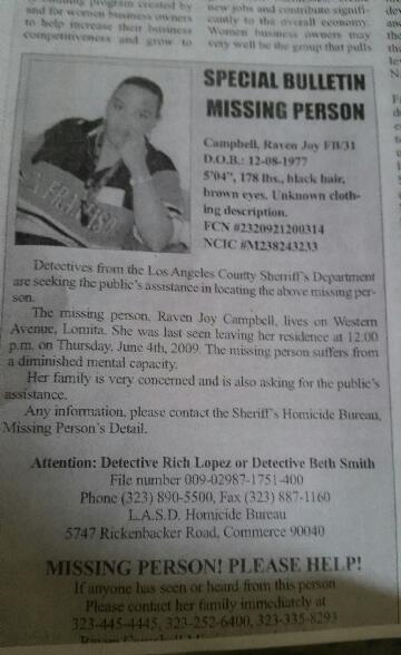 Raven Campbell, who has been missing since 2009, is shown in a missing person report.
