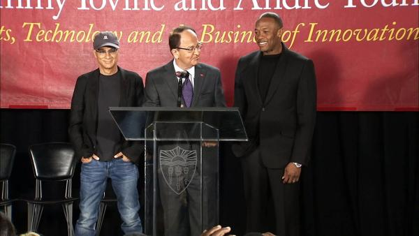 Music producer Jimmy Iovine (L) and rapper-producer Dr. Dre (R) at the University of Southern California on May 15, 2013.