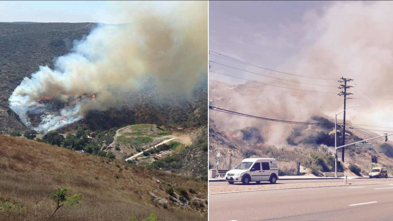 A brush fire erupted in the 1900 block of Laguna Canyon Road in Laguna Beach Friday, July 3, 2015.