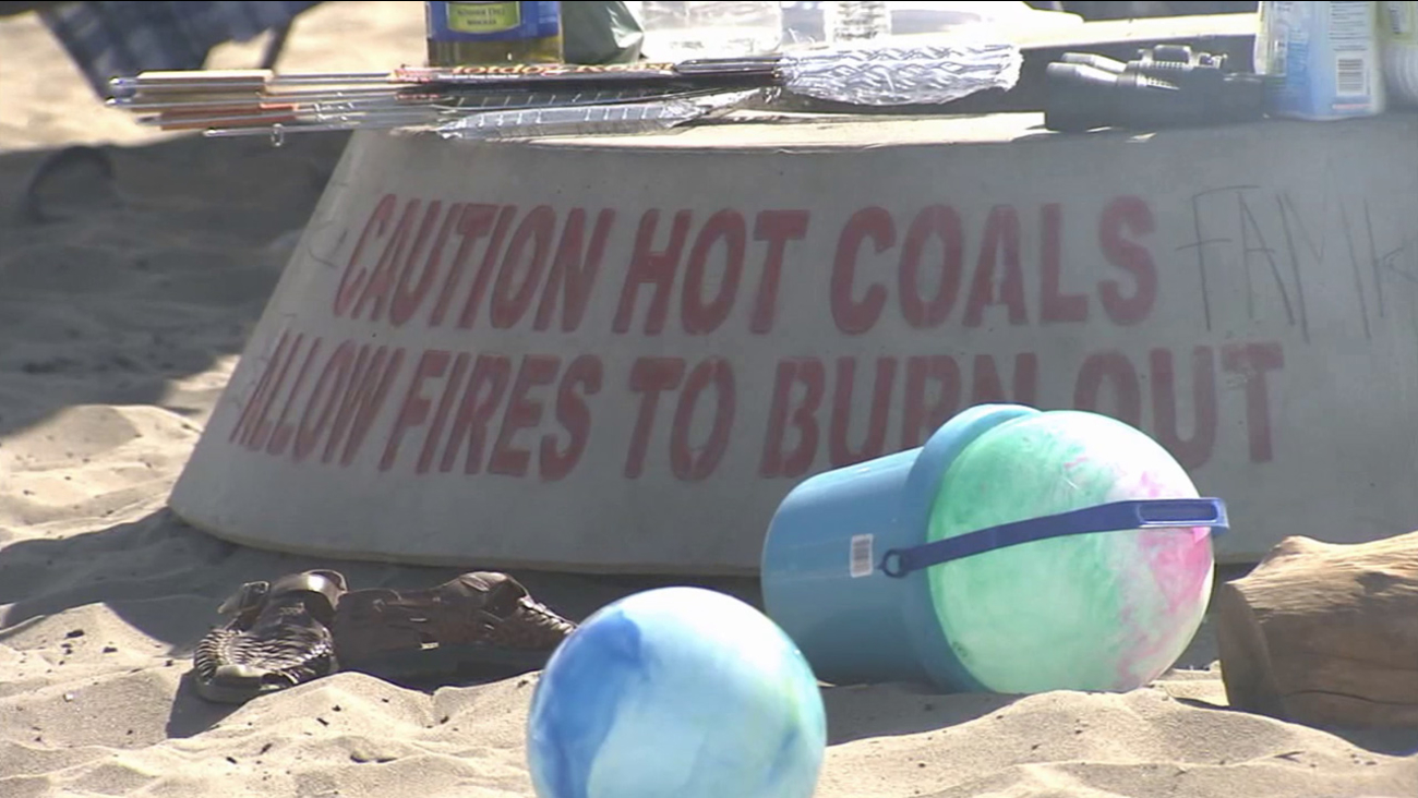A fire pit is shown at Dockweiler State Beach on Saturday, July 4, 2015.