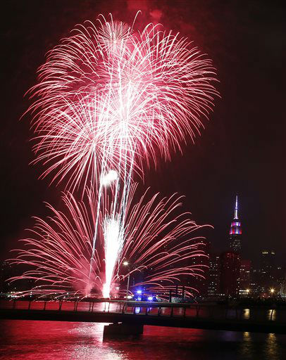 "<div class=""meta image-caption""><div class=""origin-logo origin-image none""><span>none</span></div><span class=""caption-text"">The Empire State Building can be seen as fireworks explode over the East River in front of the Manhattan skyline as seen from Brooklyn. (AP Photo/Jason DeCrow) (AP Photo/ Jason DeCrow)</span></div>"