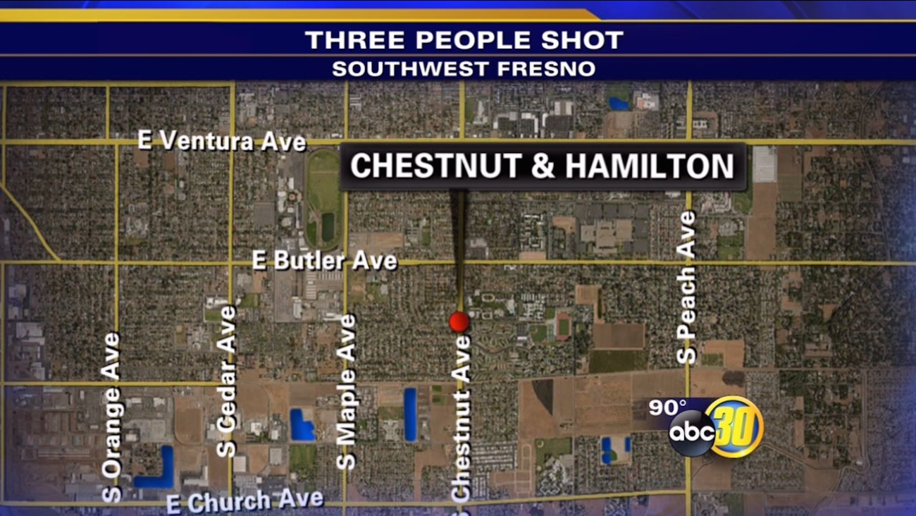Fresno Police say three people were shot at a Fourth of July gathering Saturday night.