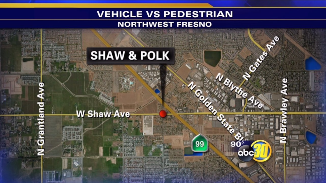 Officers say a female victim was hit by a vehicle at Shaw and Polk around 9:30 p.m. on Saturday.