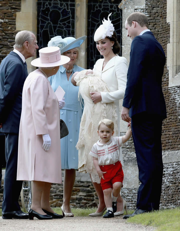 "<div class=""meta image-caption""><div class=""origin-logo origin-image none""><span>none</span></div><span class=""caption-text"">Kate, the Duchess of Cambridge, holds her daughter while standing with her husband and son and talking to Queen Elizabeth II, Prince Phillip and Camilla, Sunday, July 5, 2015. (Chris Jackson, Pool Photo via AP)</span></div>"