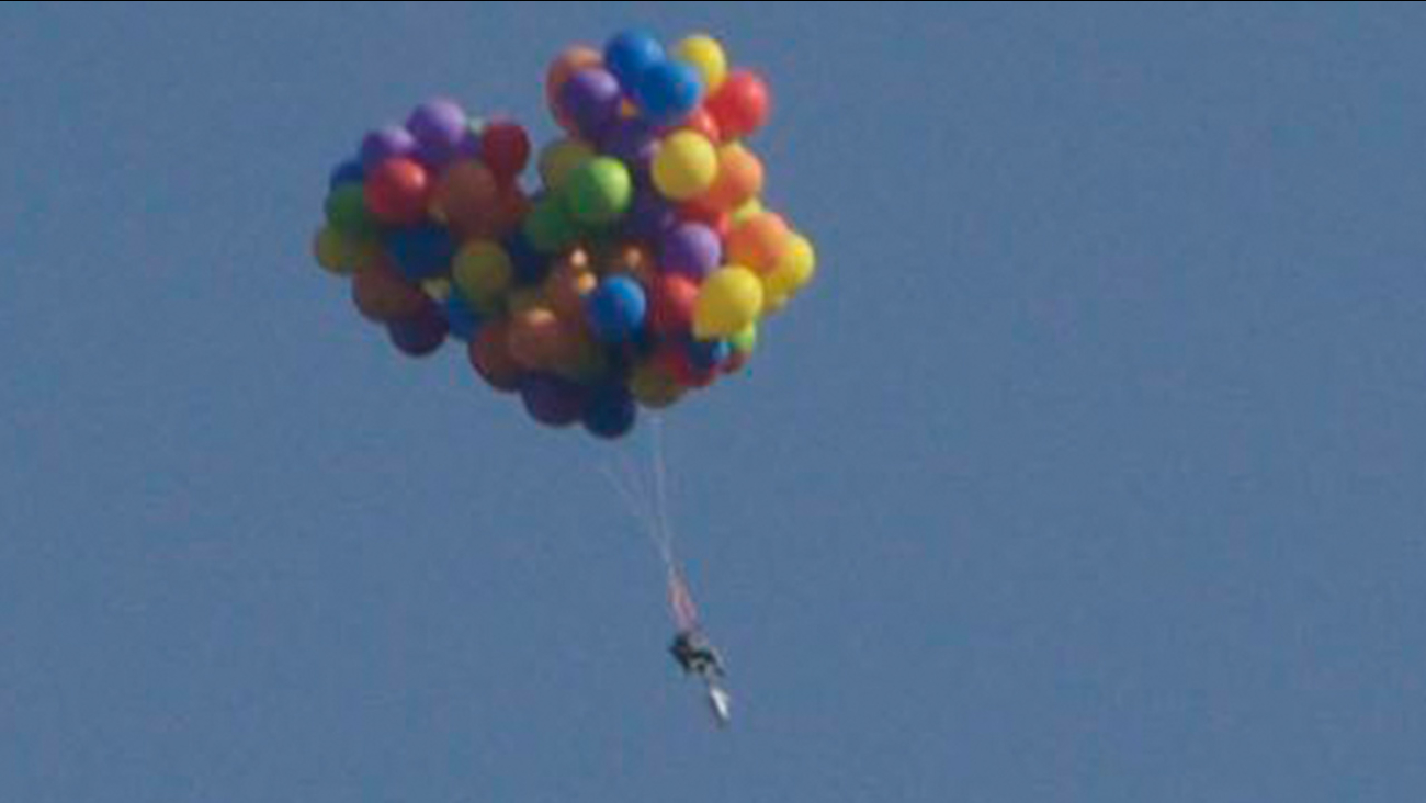 Man Files On Lawn Chair Tied To Balloons To Promote His