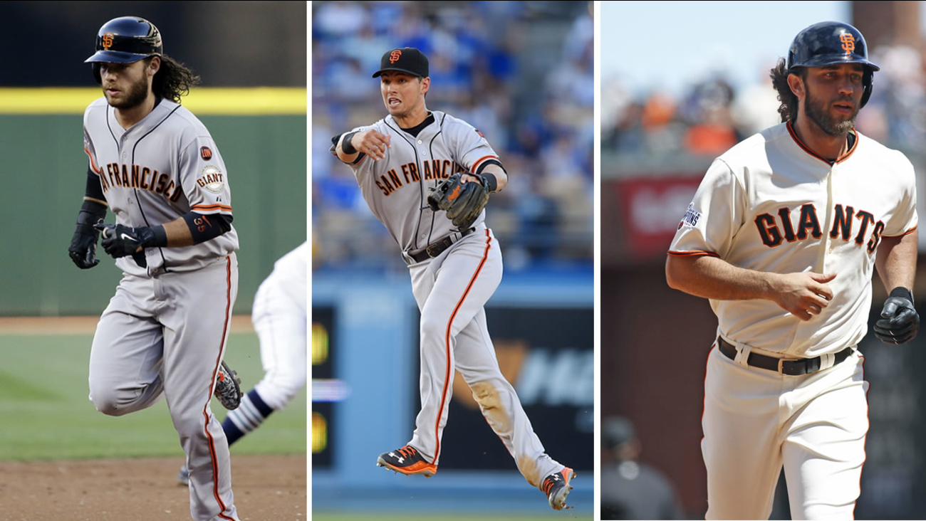 San Francisco Giants shortstop Brandon Crawford, second baseman Joe Panik and pitcher Madison Bumgarner join Buster Posey on the National League roster for the All-Star game.