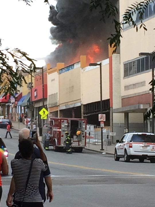 """<div class=""""meta image-caption""""><div class=""""origin-logo origin-image none""""><span>none</span></div><span class=""""caption-text"""">Action News viewer Tamika sent in this photo of the Upper Darby fire.</span></div>"""