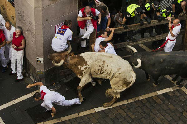"<div class=""meta image-caption""><div class=""origin-logo origin-image none""><span>none</span></div><span class=""caption-text"">A steer, left, and a Jandilla fighting bull, right, run after revelers during the running of the bulls at the San Fermin festival, in Pamplona, Spain, Tuesday, July 7, 2015. (AP Photo/ Andres Kudacki)</span></div>"